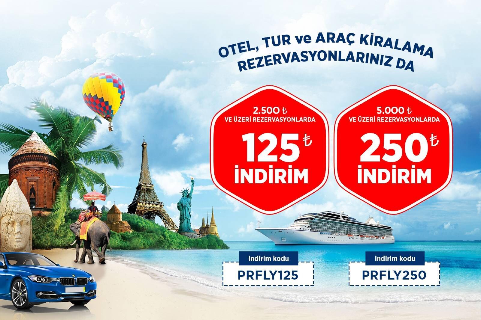 Otel, Tur ve Araç Kiralama Rezervasyonlarında 250 TL İndirim Fırsatı