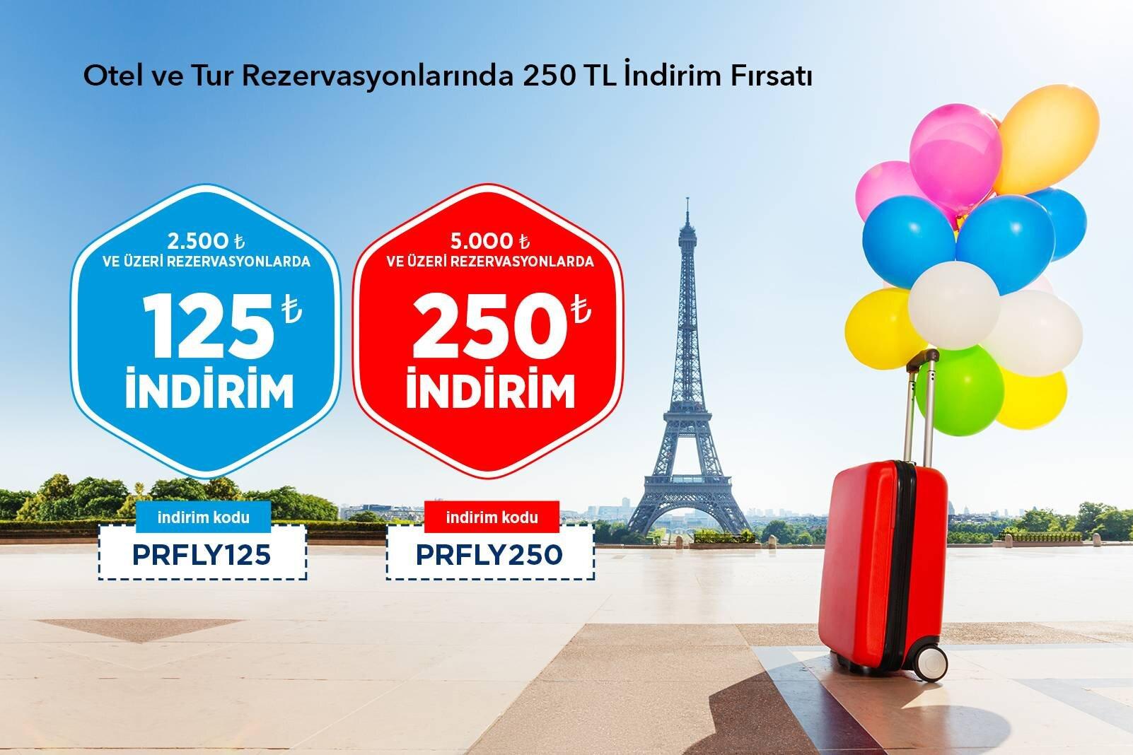 Otel ve Tur Rezervasyonlarında 250 TL İndirim Fırsatı